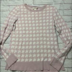 Pink white loft women's houndstooth blouse